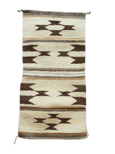 "Louise Francisco, Gallup Throw Rug, Browns, Navajo Handwoven, 36 1/2"" x 19"""