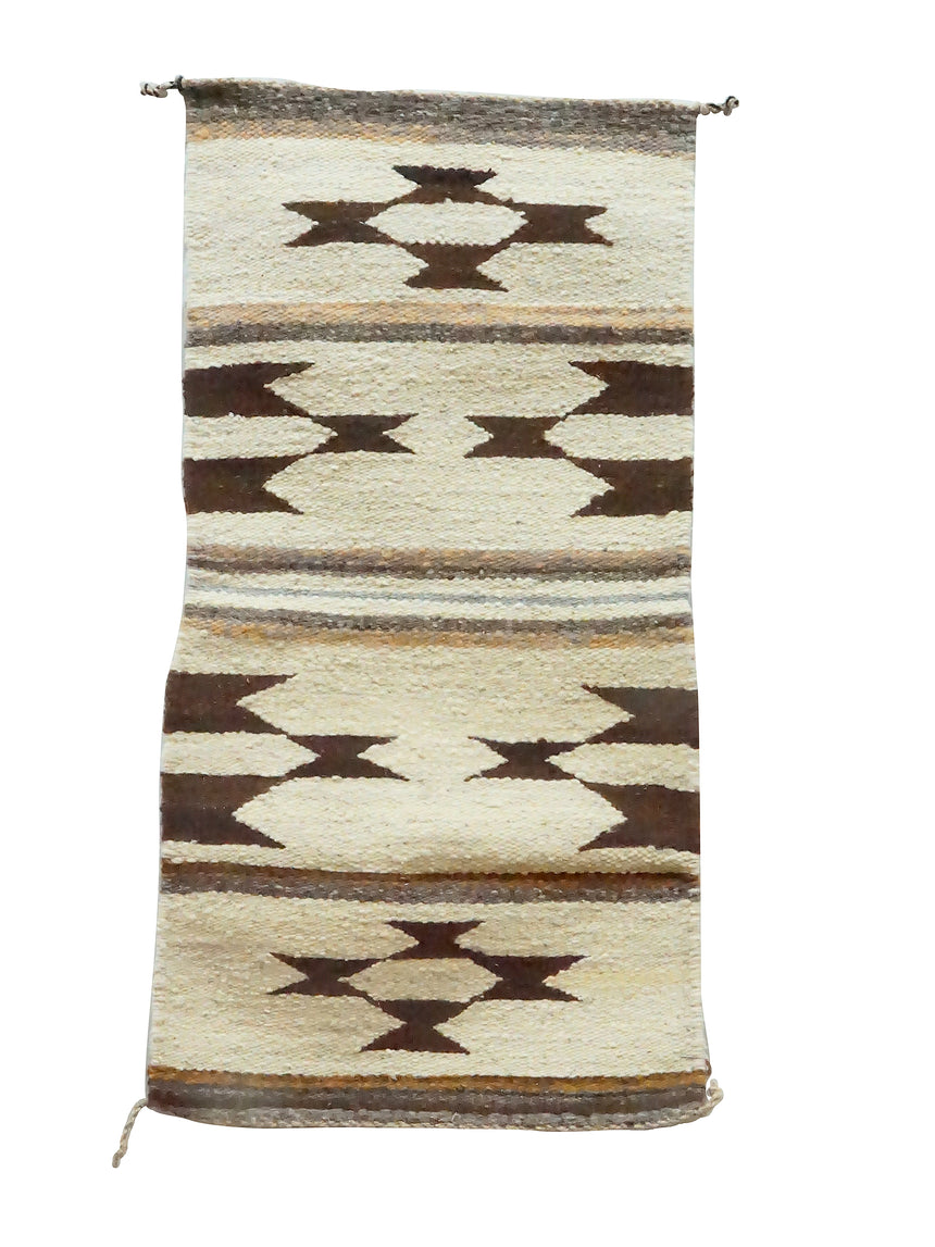 Louise Francisco, Gallup Throw Rug, Browns, Navajo Handwoven, 36 1/2