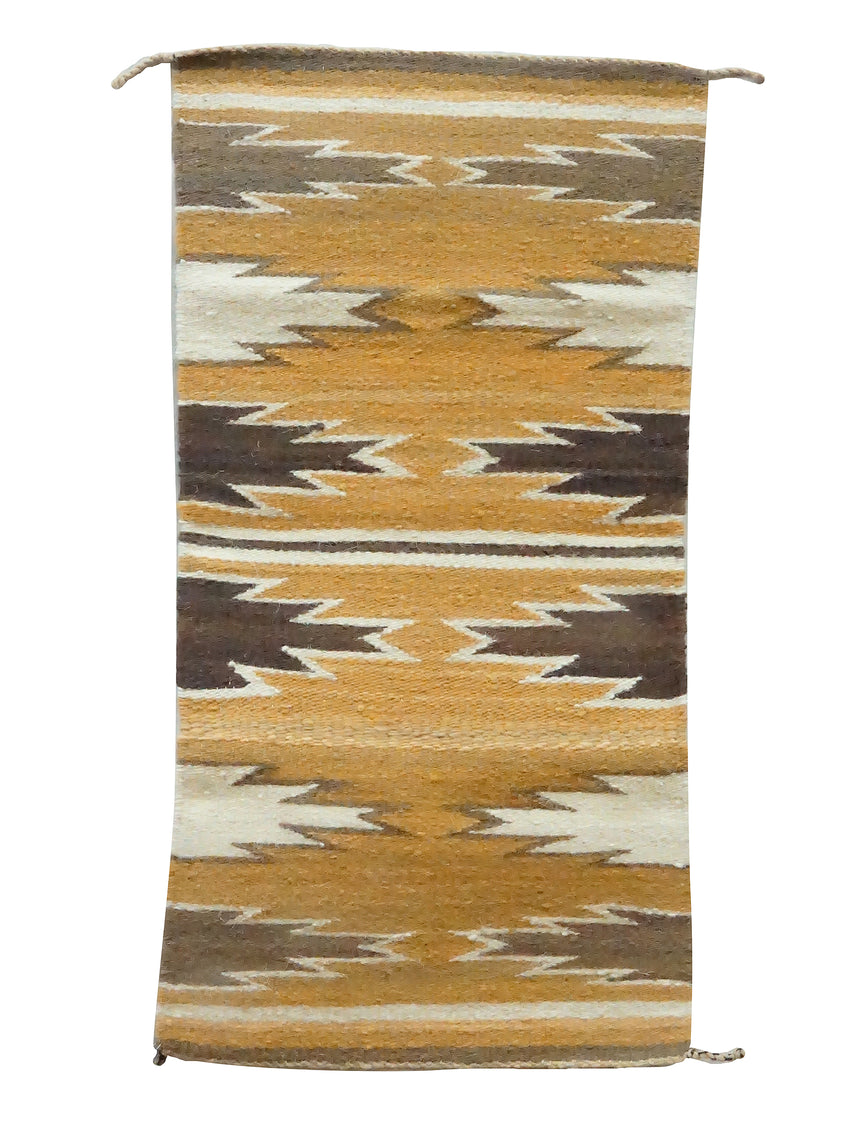 Gallup Throw Rug, Purple, Orange, White, Wool, Navajo Handwoven, 37 1/2