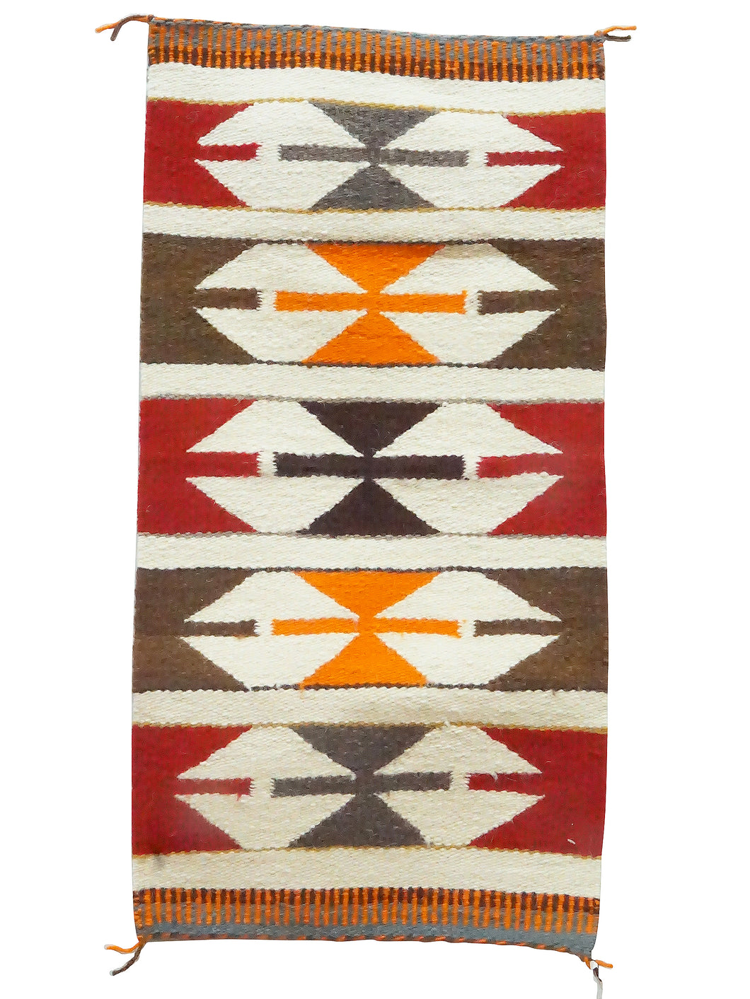 Gallup Throw Rug, Gray, White, Red, Brown, Navajo Handmade, 36 1/2