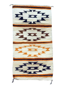 "Gloria Francisco, Gallup Throw Rug, Orange, Browns, Navajo, 37 1/4"" x 19 1/2"""