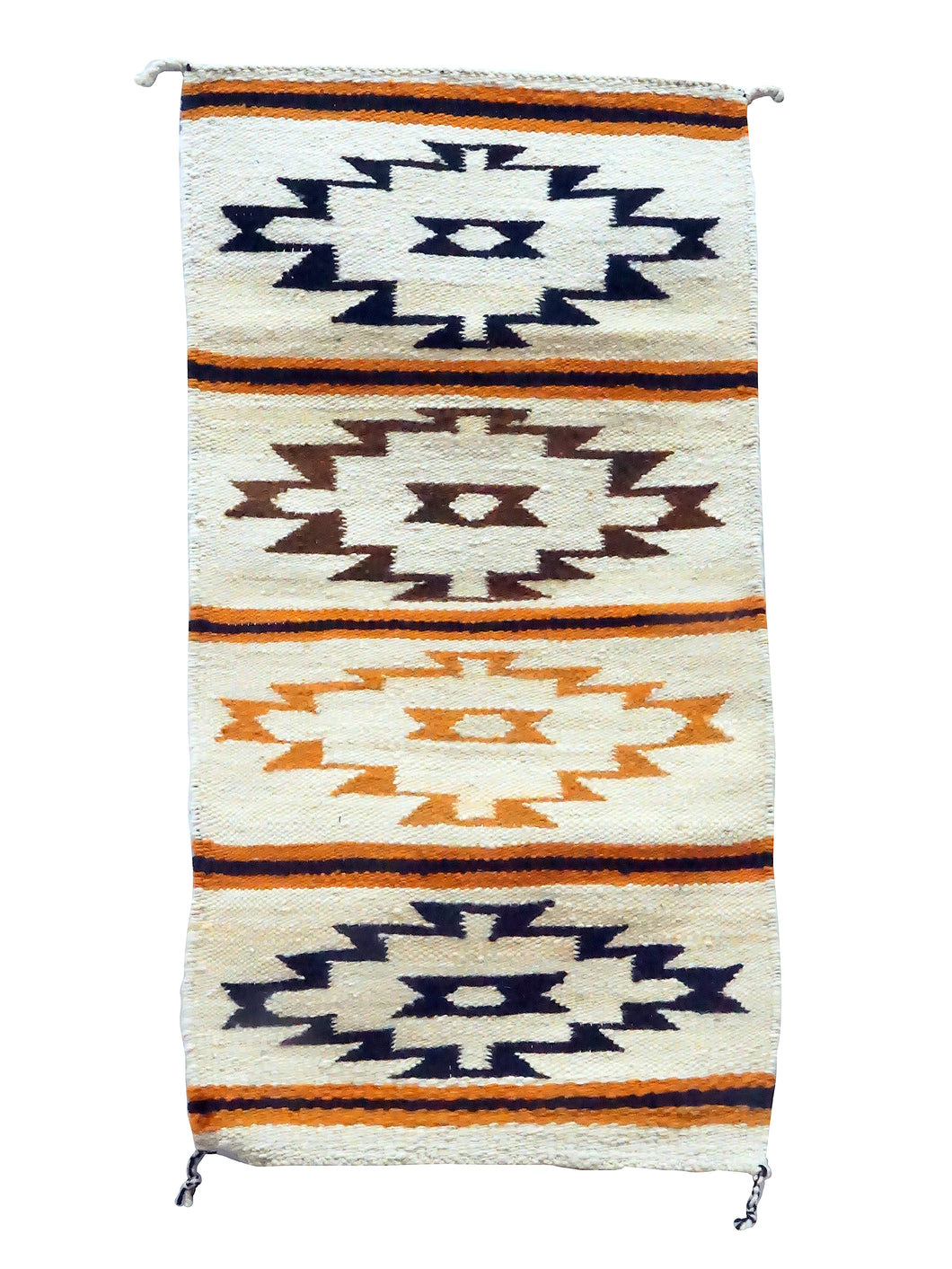 Gloria Francisco, Gallup Throw Rug, Orange, Browns, Navajo, 37 1/4