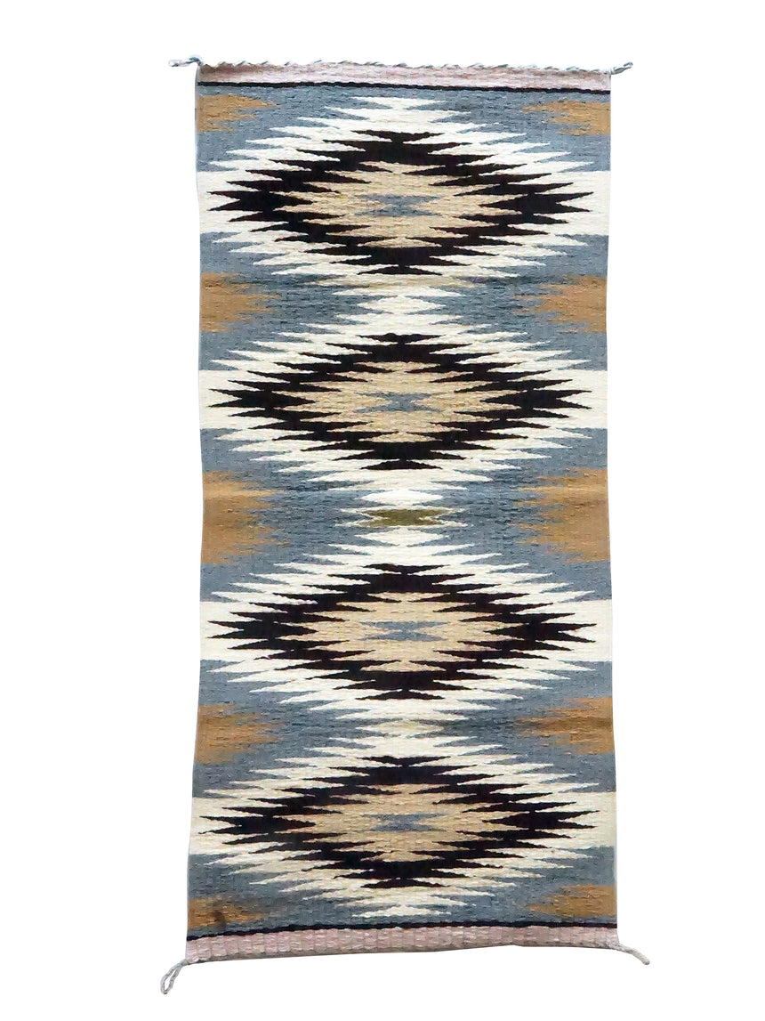 Nettie Slim, Gallup Throw Rug, Grays, Browns, Navajo Handmade, 36