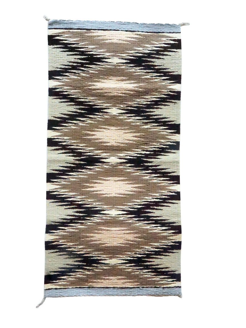 Nettie Slim, Gallup Throw Rug, Browns, Navajo Handmade, 35 1/2
