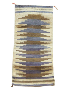 "Gallup Throw Rug, Blues, Browns, Navajo Handmade, 37"""" x 18 1/2"""