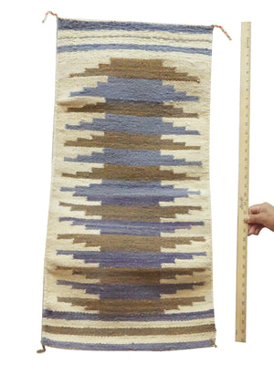 "Load image into Gallery viewer, Gallup Throw Rug, Blues, Browns, Navajo Handmade, 37"""" x 18 1/2"""