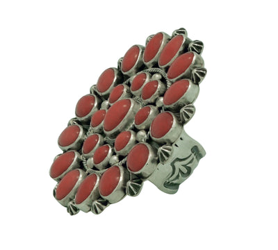 Load image into Gallery viewer, Randy Boyd, Ring, Cluster Design, Mediterranean Coral, Navajo Handmade, 7