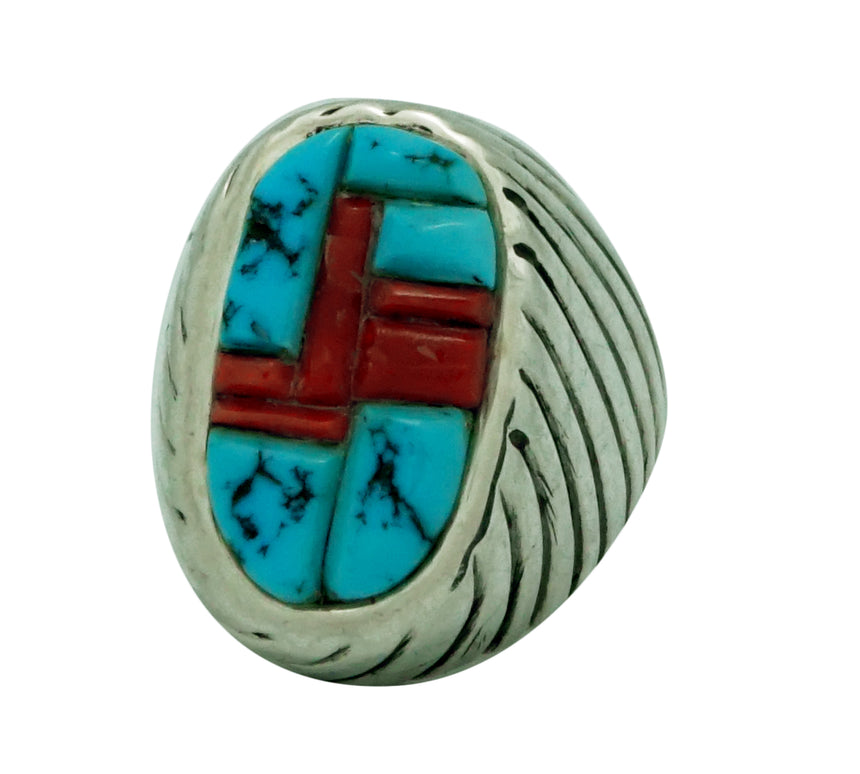 Aaron Anderson, Ring, Tufa, Mediterranean Coral, Sleeping Beauty Turquoise, 10