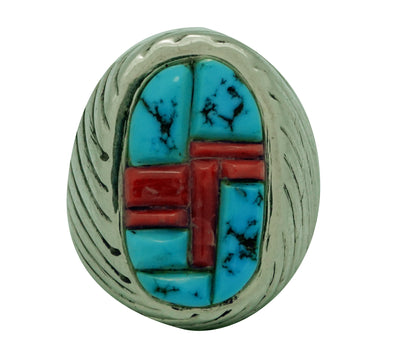 Load image into Gallery viewer, Aaron Anderson, Ring, Tufa, Mediterranean Coral, Sleeping Beauty Turquoise, 10