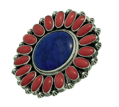 Load image into Gallery viewer, Randy Boyd, Ring, Cluster, Lapis, Mediterranean Coral, Silver, Navajo Made, 8