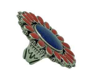 Randy Boyd, Ring, Cluster, Lapis, Mediterranean Coral, Silver, Navajo Made, 8
