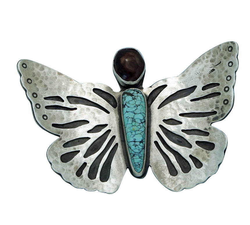 Julian Chavez, Ring, Butterfly, Number Eight Turquoise, Boulder Opal, Navajo, 8
