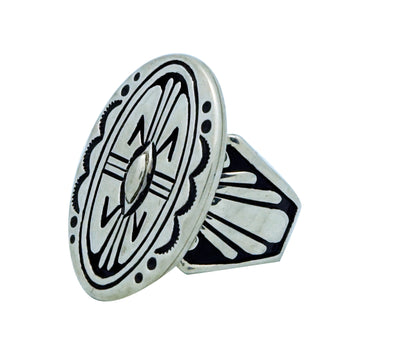Load image into Gallery viewer, Kary Begay, Ring, Overlay Design, Oval, Sterling Silver, Navajo Handmade, 9