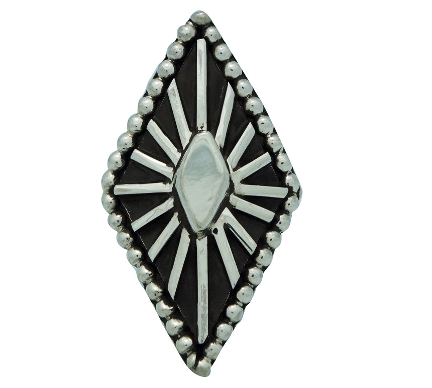 Tom Hawk, Ring, Overlay, Bold Design, Sterling Silver, Navajo Handmade, 8 1/2