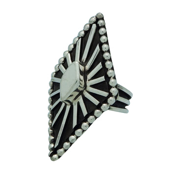 Load image into Gallery viewer, Tom Hawk, Ring, Overlay, Bold Design, Sterling Silver, Navajo Handmade, 8 1/2