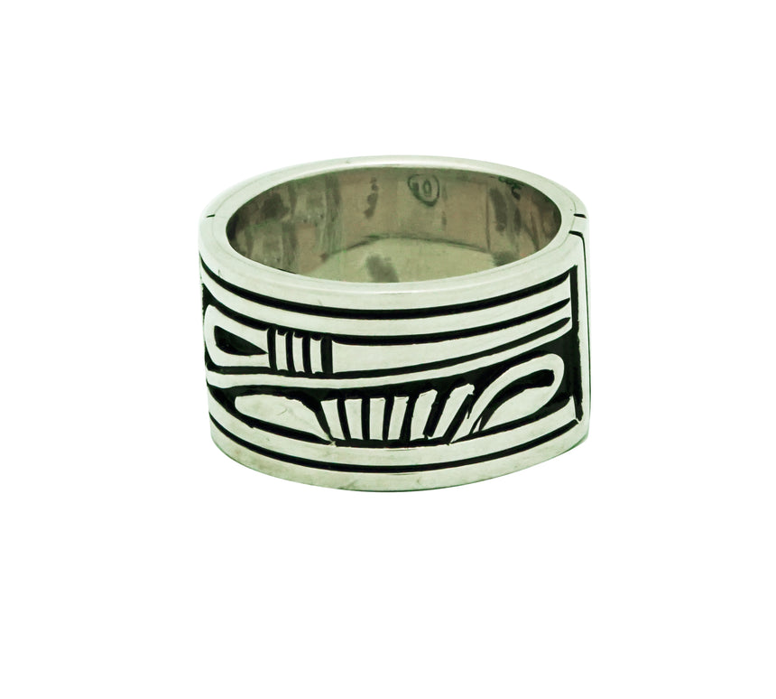Kary Begay, Ring, Sterling Silver Band, Overlay Design, Navajo Handmade, 10