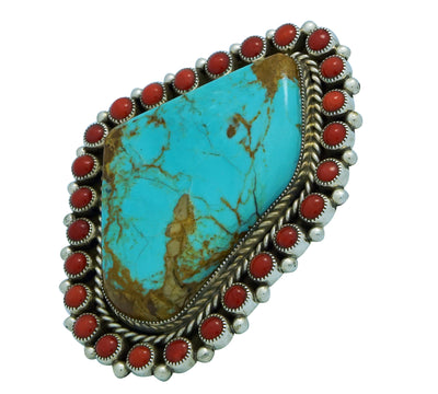 Load image into Gallery viewer, Melvin, Tiffany Jones, Ring, Turquoise Mountain, Mediterranean Coral, Navajo, 10