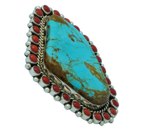 Melvin, Tiffany Jones, Ring, Turquoise Mountain, Mediterranean Coral, Navajo, 10