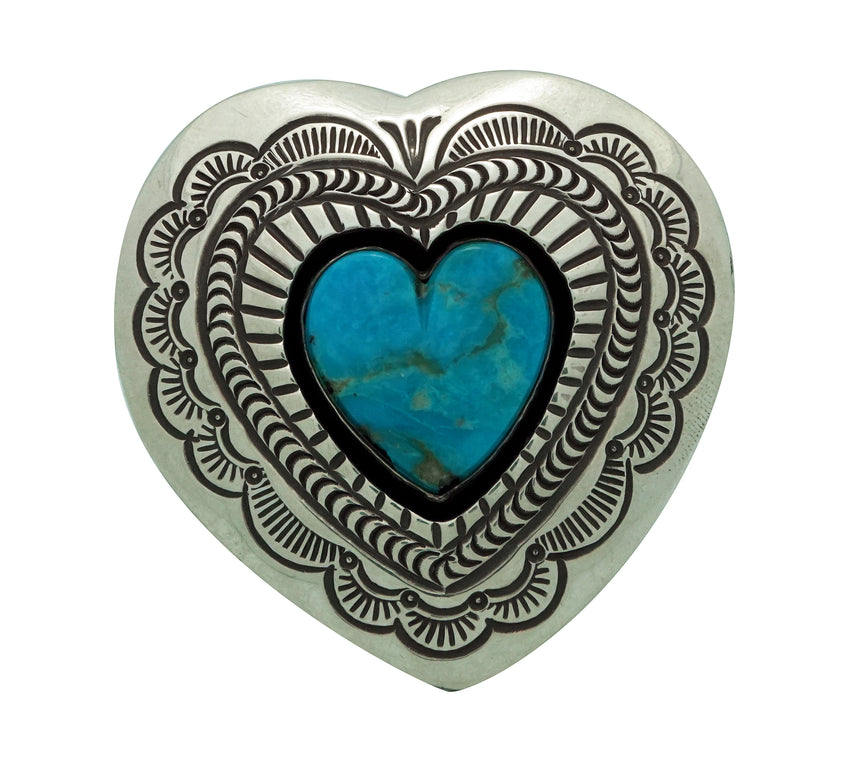 Arnold Blackgoat, Ring, Kingman Turquoise, Shadowbox, Heart, Navajo Made, 8
