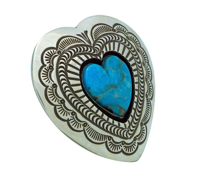 Load image into Gallery viewer, Arnold Blackgoat, Ring, Kingman Turquoise, Shadowbox, Heart, Navajo Made, 8