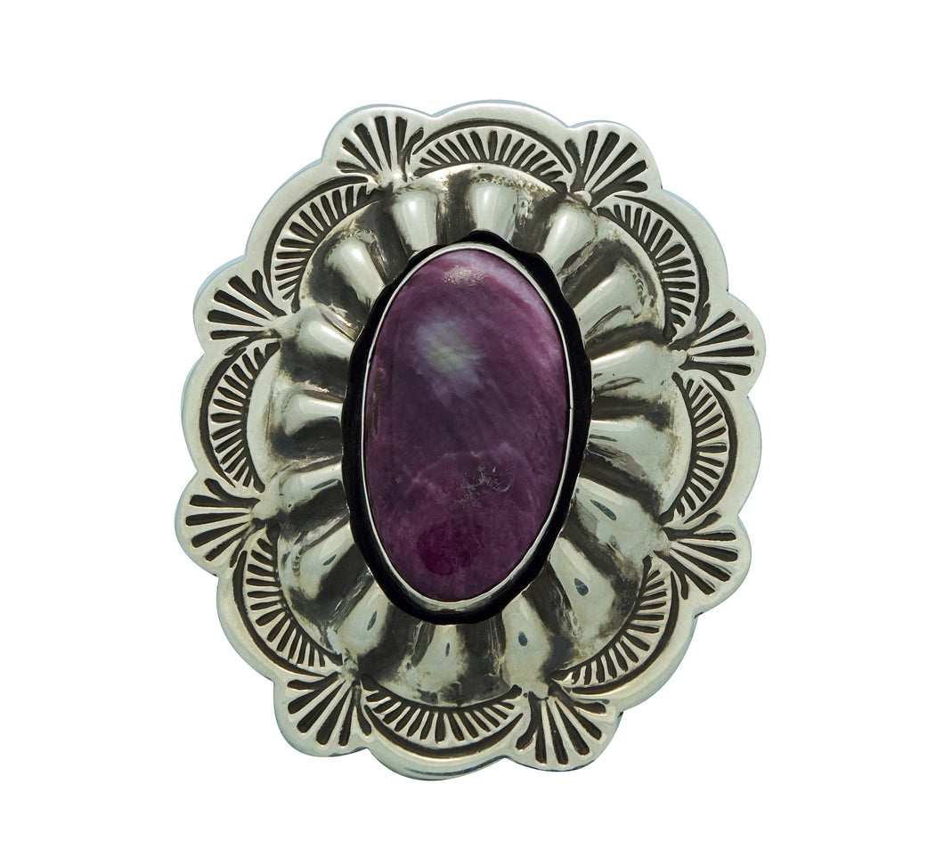 Arnold Blackgoat, Ring, Shadowbox, Purple Spiny Oyster Shell, Navajo Made, 8