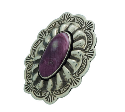 Load image into Gallery viewer, Arnold Blackgoat, Ring, Shadowbox, Purple Spiny Oyster Shell, Navajo Made, 8