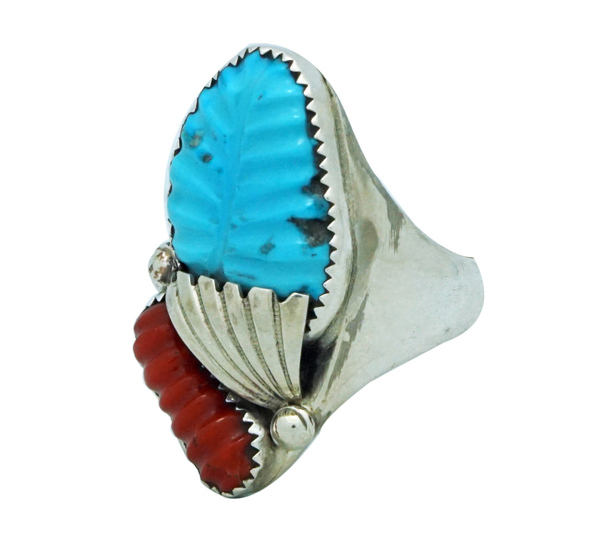 Lyolita, Tsatte, Ring, Carved Turquoise, Coral, Silver Leaf, Zuni Made, 13 1/2