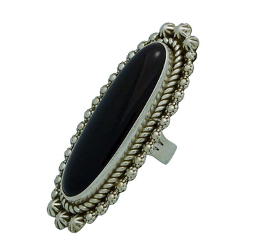 Load image into Gallery viewer, Benjamin Martinez, Ring, Black Onyx, Sterling Silver, Navajo Handmade, 9
