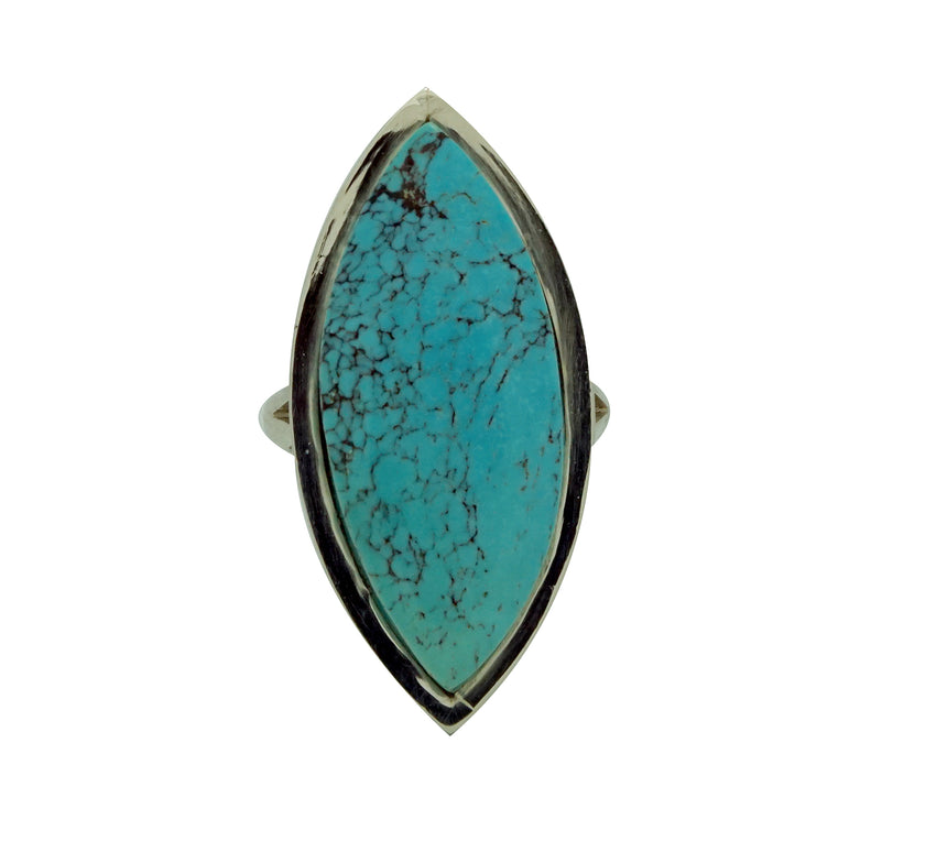 Larry Chavez, Ring, Spider Web Turquoise, Silver, Navajo Handmade, 9 ½