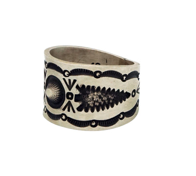 Load image into Gallery viewer, Herman Smith, Ring, Wide, Arrowheads, Stamping, Old Style, Navajo Handmade, 12