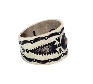 Herman Smith, Ring, Wide, Arrowheads, Stamping, Old Style, Navajo Handmade, 12