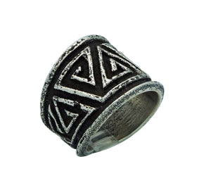 Aaron Anderson, Ring, The Journey, Tufa Cast, Carved, Navajo Handmade, 9 ½