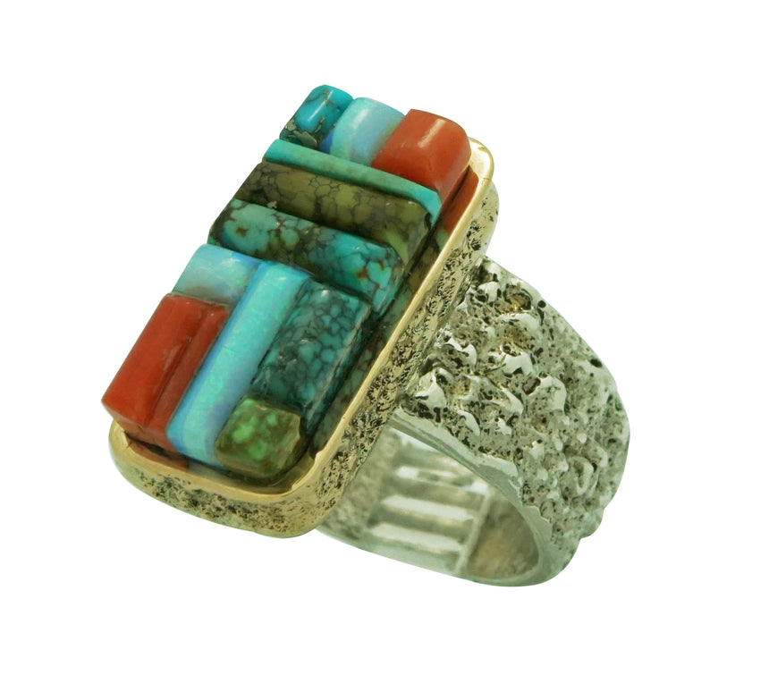 Lester James, Ring, Inlay, Silver, 14k, Coral, Opal, Turquoise, Navajo, 10 ¼