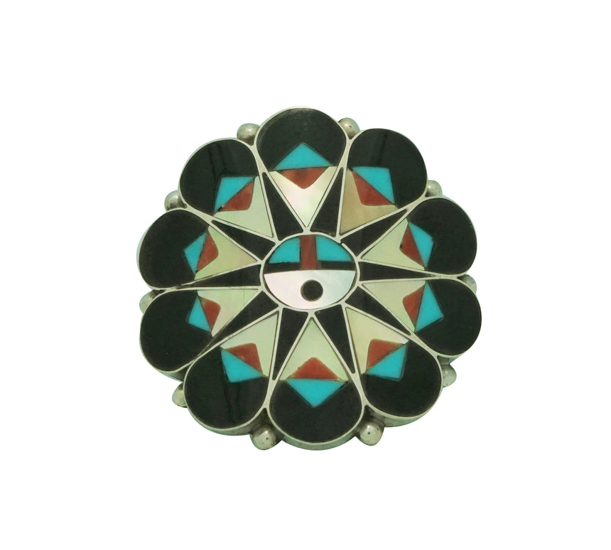 Delwin Gasper, Ring, Sunface, Inlay, Yellow Shell, Turquoise, Jet, Zuni Made, 6