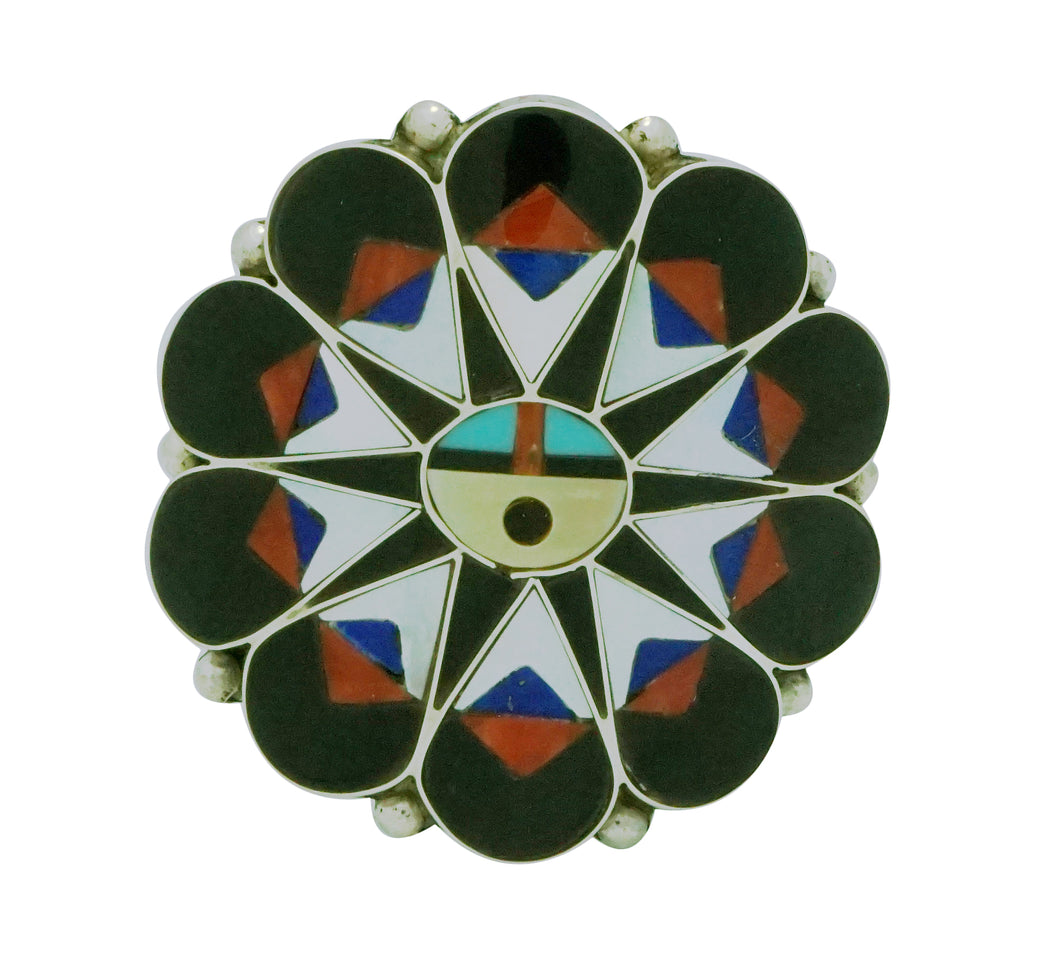 Delwin Gasper, Ring, Sunface, Inlay, Coral, Shell, Jet, Lapis, Zuni, 8 1/2