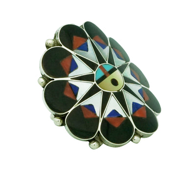 Load image into Gallery viewer, Delwin Gasper, Ring, Sunface, Inlay, Coral, Shell, Jet, Lapis, Zuni, 8 1/2