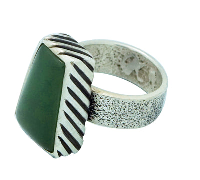 Load image into Gallery viewer, Kelsey Jimmie, Ring, Tufa Cast, Jade, Sterling Silver, Navajo Handmade, 7 ½