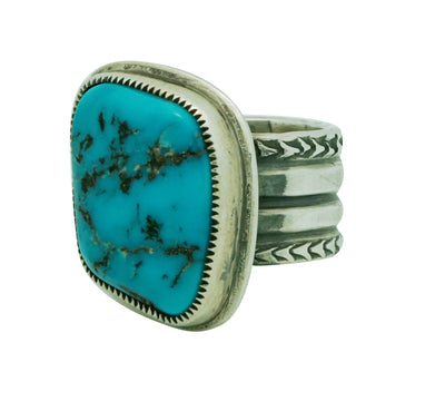 Load image into Gallery viewer, Roy Tracy, Ring, Kingman Turquoise, Sterling Silver, Stamping, Navajo Made, 11