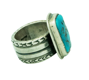 Roy Tracy, Ring, Kingman Turquoise, Sterling Silver, Stamping, Navajo Made, 11