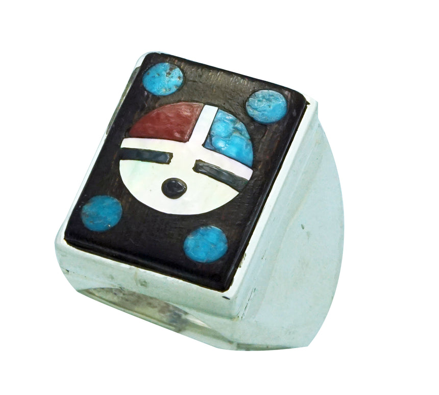 Harlan Coonsis, Ring, Sunface, Turquoise, Coral, Shell, Iron Wood, Zuni Made, 13