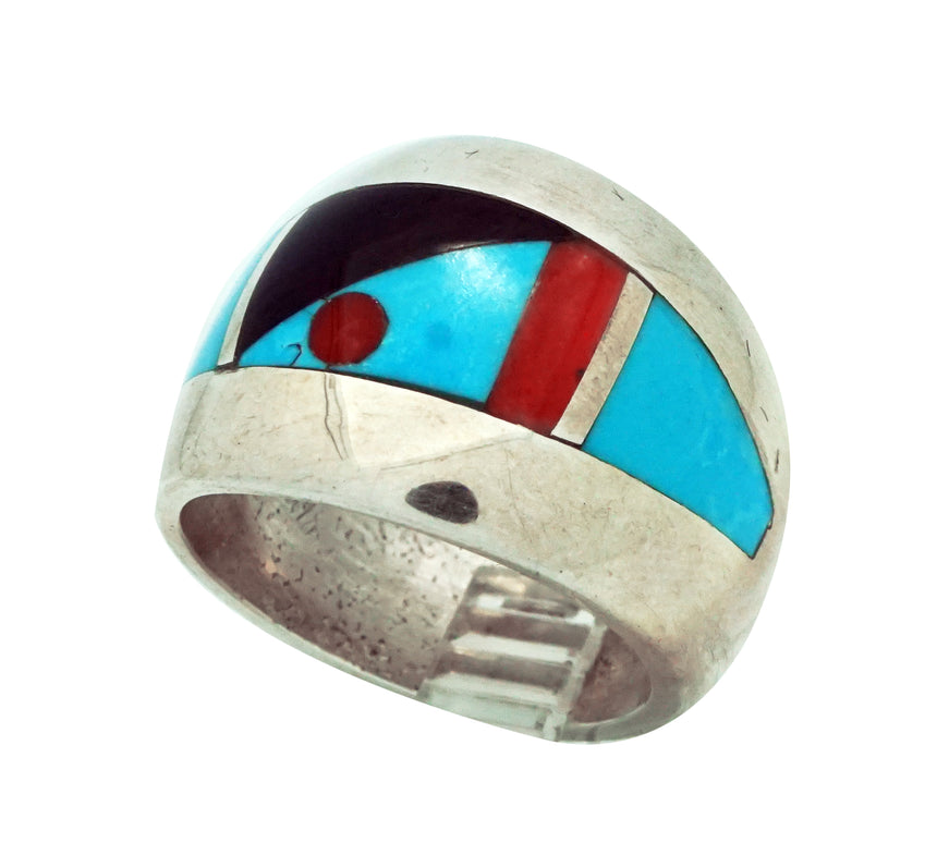 Kelsey Jimmie, Ring, Tufa Cast, Carving, Jet, Turquoise, Coral, Navajo Made, 9