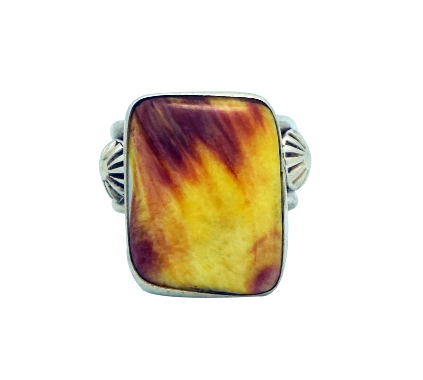 Ben Begaye, Ring, Yellow, Purple Spiny Oyster Shell, Silver, Navajo Made, 8