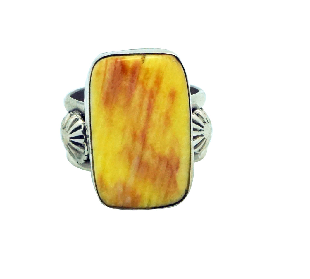 Ben Begaye, Ring, Yellow, Purple Spiny Oyster Shell, Silver, Navajo Made, 8 ½