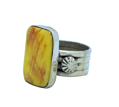 Load image into Gallery viewer, Ben Begaye, Ring, Yellow, Purple Spiny Oyster Shell, Silver, Navajo Made, 8 ½