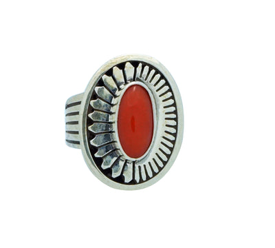 Load image into Gallery viewer, Leonard Nez, Ring, Mediterranean Coral, Silver Overlay, Navajo Made, 7 ½