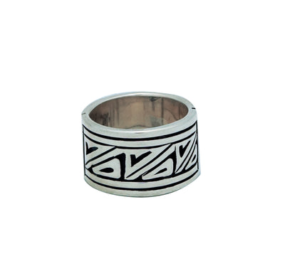 Load image into Gallery viewer, Kary Begay, Ring, Sterling Silver Overlay, Band, Navajo Handmade, 7 ½