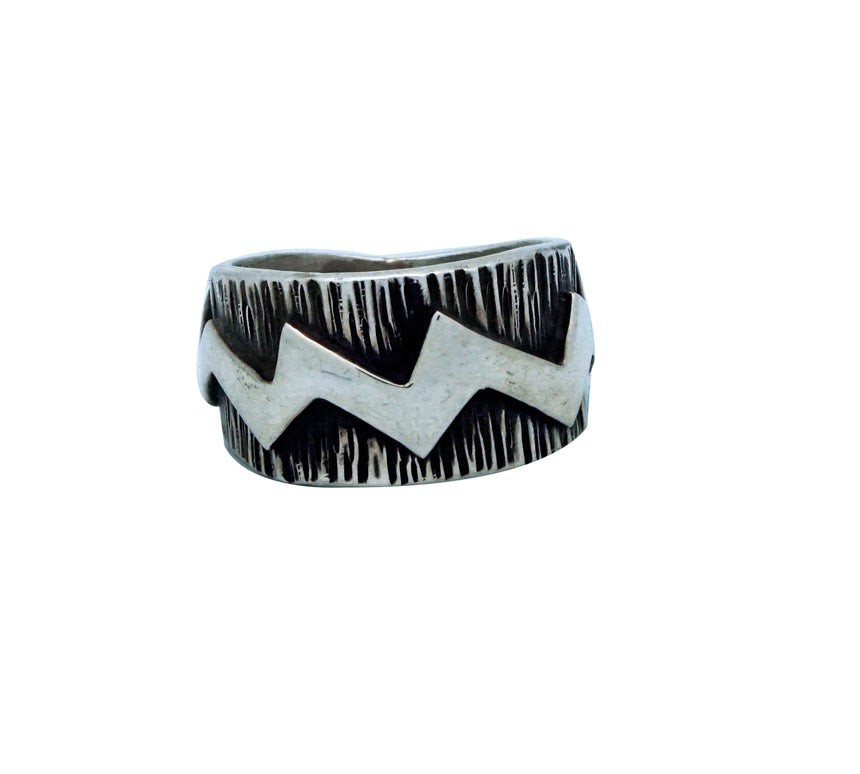 Kee Yazzie, Ring, Lightning, Stamping, Overlay, Silver, Navajo Handmade, 9 ½