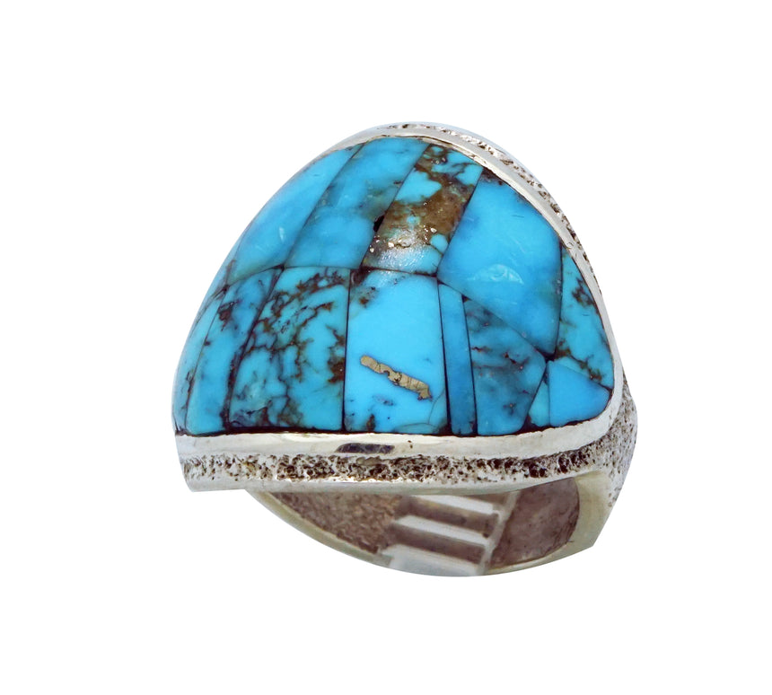 Lester James, Ring, Kingman Turquoise, Tufa Cast, Carved, Navajo Handmade, 9 ½