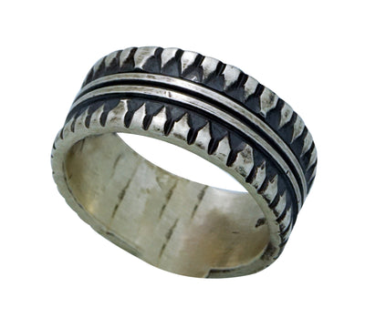Load image into Gallery viewer, Derrick Gordon, Ring, Stamped Band, Heavy Silver, Old Style, Navajo Handmade, 12