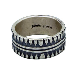Derrick Gordon, Ring, Stamped Band, Heavy Silver, Old Style, Navajo Handmade, 12
